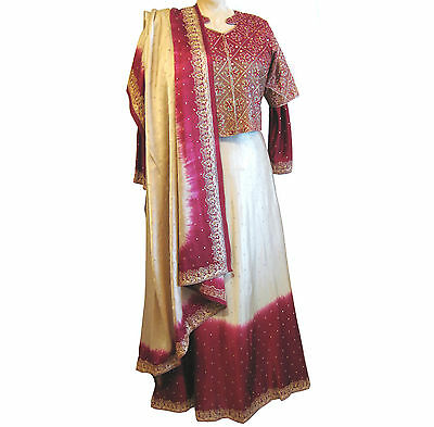4 piece vintage Indian skirt, blouse, jacket, wrap. Gold embroidered silk