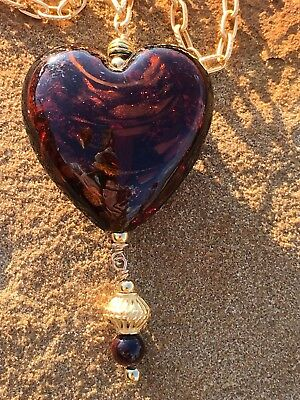 Murano Glass Heart Pendant on Gold Plated chain Necklace