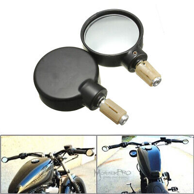 "Universal Black Round Handle Bar End Mirrors 7/8"" 22mm Motorcycle dirt bike MX"