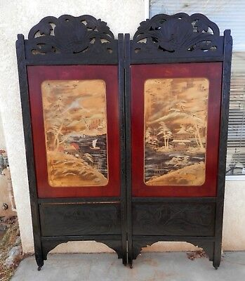 Antique Japanese Hand Carved Wooden Lacquer Hand Painted Mt Fuji Folding Screen