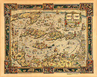 The Story Map of the West Indies 1936 75cm x 59.5cm High Quality Art Print