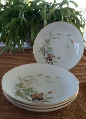 HALSEY SWIRLING LEAVES CEREAL/SOUP BOWLS lot of 4
