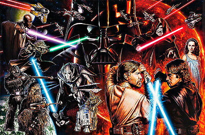 Star Wars Montage Movie Poster A1 High Quality Canvas Print