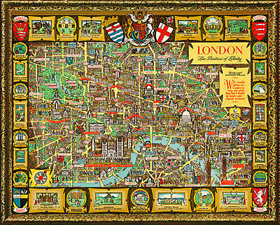 London The Bastion of Liberty 1947 Vintage Map A1 High Quality Canvas Print