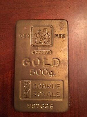 VINTAGE 999 PURE GOOD AS GOLD 500g. BANQUE ROYALE 987635 PAPERWEIGHT