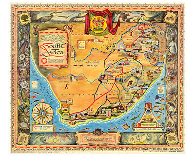 A Ppictorial Map of South Africa 1950 75cm x 60cm High Quality Art Print