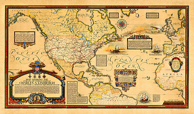 """Overland and Overseas Flights of Charles A. Lindbergh 39.4"""" x 23.2"""" Map Print"""