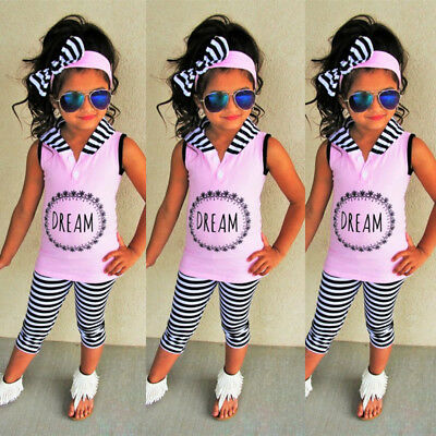 Kids Baby Girls Vest Hoodie Top T-shirt Pants Stripes Leggings Outfit Clothes UK