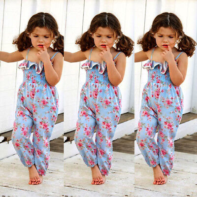 UK Kids Baby Girls Flower Romper Harem Jumpsuit Playsuit Sunsuit Clothes Outfits