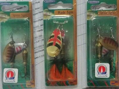 6 Gillies Trout spinners. VMC HOOK. spina. mask. NEW.