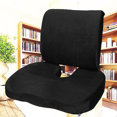 Memory Foam Coccyx Orthoped Seat + Back Support Lumbar Cushion Office Chair KZ