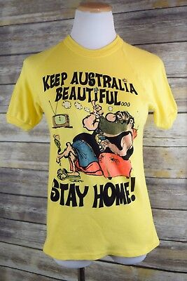 Vtg 70s S/M Exacto Ringer T-Shirt Satire Make Australia Great Again Stay Home