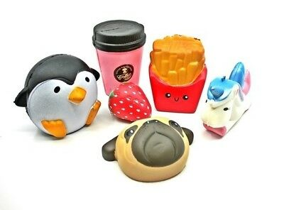 Jumbo Squishies Scented Charms Soft Squishy Toy Penguin Fries Cute Animal Food