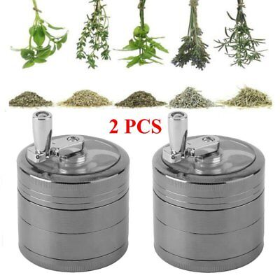 "2X Herb Grinder Crusher for Tobacco 4 Piece 2"" Metal Hand Muller Spice Silver KZ"