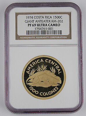 Costa Rica 1974 1500 COLONES 1 Oz Gold Proof Coin NGC PF69 UC KM#202 Fr#28 Rare