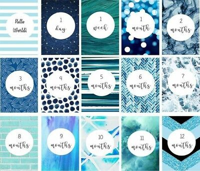 Shades of Blue Baby Milestone Cards - Pack of 15 - Baby Shower Gift