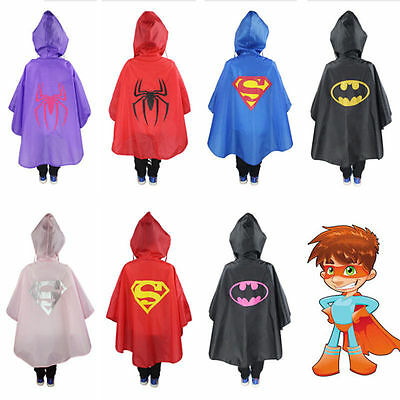 Kids Raincoat Waterproof Poncho Superhero Cloak-style Rain Cape Halloween Lot