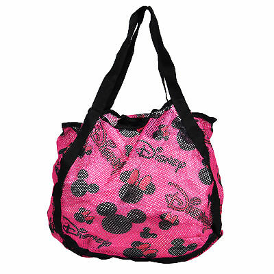 Disney Mickey Minnie Mouse Pink Mesh Beach Tote Bag