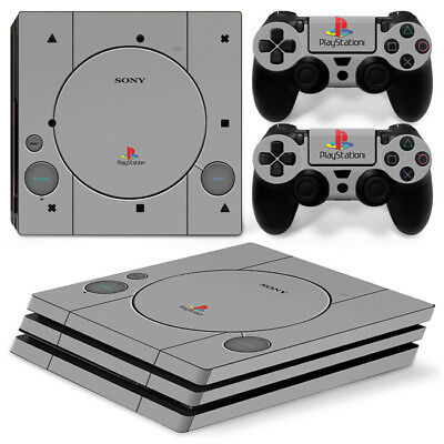 PS1 Retro design for Sony PS4 Pro Decal Wrap Skin Sticker Console &2 Controllers