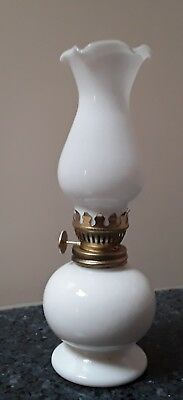 White Ceramic Oil Lamp with Milk Glass Chimney