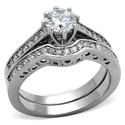 Silver Stainless Steel Simulated Diamond Wedding 2 Ring Set Size 5 7 8 9 J N P R
