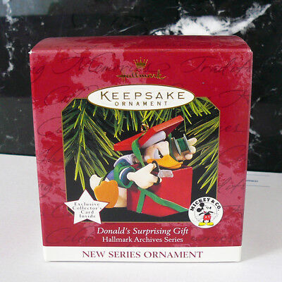Hallmark 1997 Donald's Surprising Gift Ornament Mickey & Co Archives Series Duck