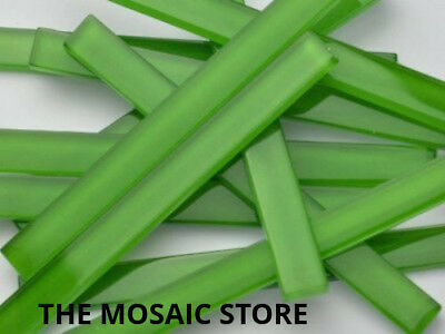 Green Crystal Glass Mosaic Tile Strips 10x98x4mm - Art & Craft Supplies