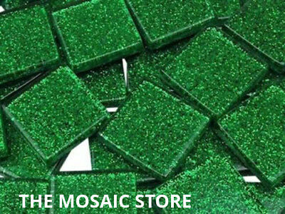 Green Glitter Glass Tiles 2cm - Mosaic Tie Art & Craft Supplies