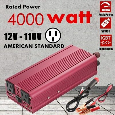 4000W Max 2000W Power Inverter Sine Wave DC 12V to AC 110V Power Converter USA #