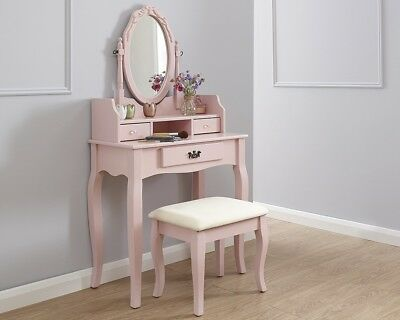Vintage Style Dusty Pink Dressing Table Padded Stool Oval Mirror Drawers 3pc Set