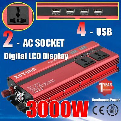 3000W 6000W 12V to 240V Car Power Converter Inverter Charger 4USB Digital LED W#