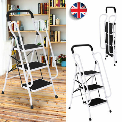 3 Step Ladder With Safety Handrail Folding Anti-Slip Rubber Mat Tread Steel Home
