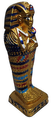 "Egyptian King Tut Pharaoh Figurine Statue Ancient Hand Made 5.2"" Sculpture 201"