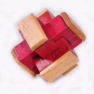 Vintage Wooden 3D Puzzle Kongming Lock Brain Teaser Game Toy Gift for Kids