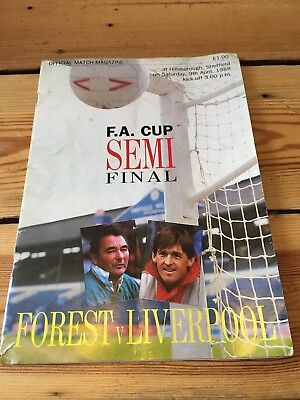 Nottingham Forest v Liverpool 1988 FA Cup Semi Final at Hillsborough Programme