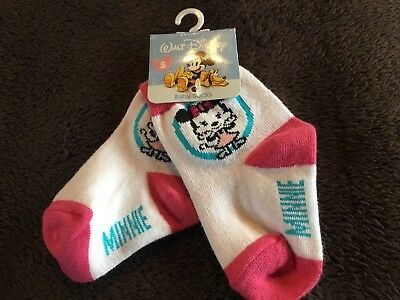 Nwt Sissy Vintage Walt Disney Minnie Mouse Baby / Toddler Socks Sz S. Pink,