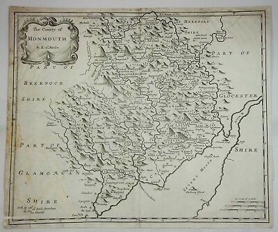 Original Engraved Map of Great Britain - MONMOUTH - by Morden in 1695