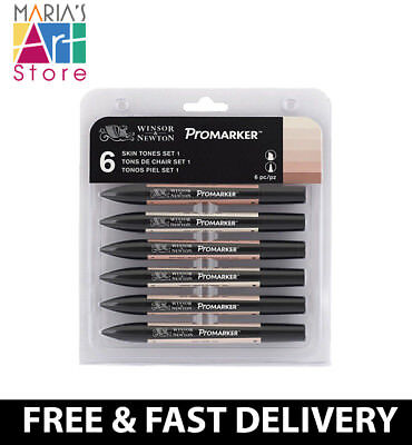 Winsor & Newton Promarker And Brushmarker Artist Marker Pen 6 Set Full Range
