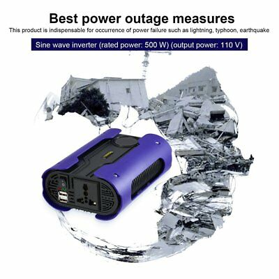 LESHP Blue 500W 12V to 110V 220V Pure Sine Wave Power Inverter With 2 USB Port #