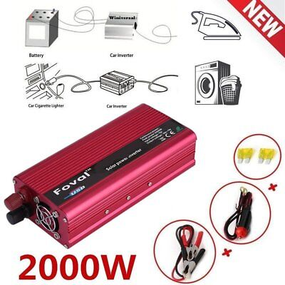 Foval 2000W DC 12V-AC 110V Car Vehicle Power Inverter Charger Converter USB Q#