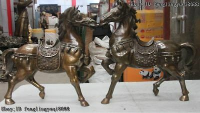 Old China Feng Shui Copper Bronze Zodiac Tang Horse lucky war Horse Statue Pair