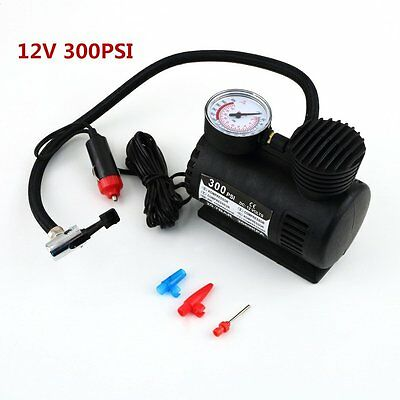 Black Portable 12V Auto Car Electric Air Compressor Tire Infaltor Pump 300 PSI @