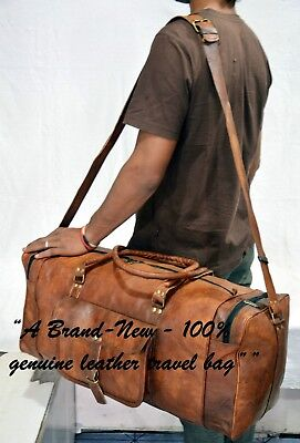 Men Genuine Leather Outdoor Gym Duffel Bag Travel Weekender Overnight Luggage