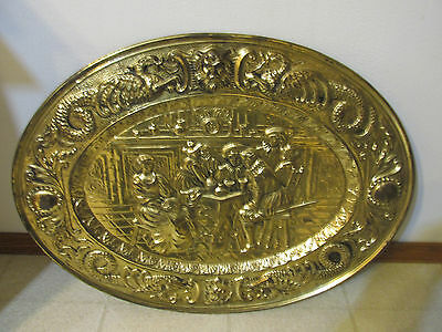 """Vintage Large Oval Brass Plate Wall Hanging 19 x 25"""""""