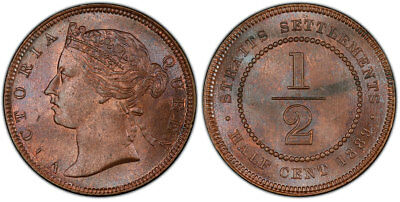 STRAITS SETTLEMENTS. Victoria. 1889 AE 1/2 Cent. PCGS MS64RB KM15.