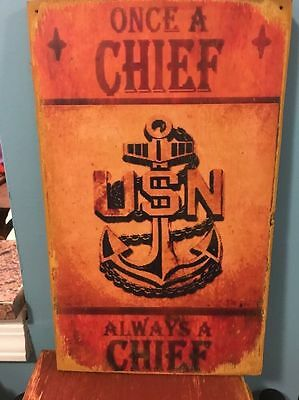 Wood US Navy E7 Chief Petty Officer CPO Sign Poster Vtg ManCave Retirement Gift
