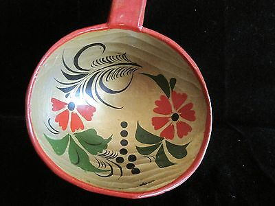 Antique Folk Art TOLE Decorated WOODEN SPOON