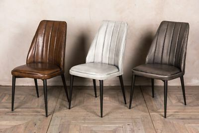 Leather Look Dining Chair Stitched Kitchen Chair Modern Restaurant Chair