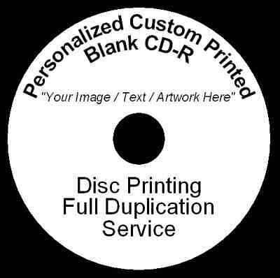 100x Personalized Custom Printed CD-R Disc Printing Duplication Image Art Audio