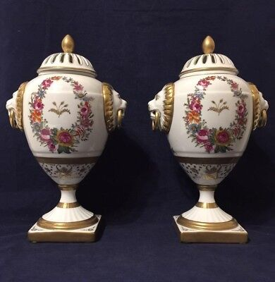 Fabulous Pair of Chelsea House Lidded Porcelain Urns Vases With Lion Heads